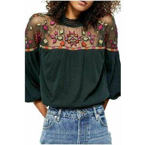 Free People Green Monday Morning Embroidered Top
